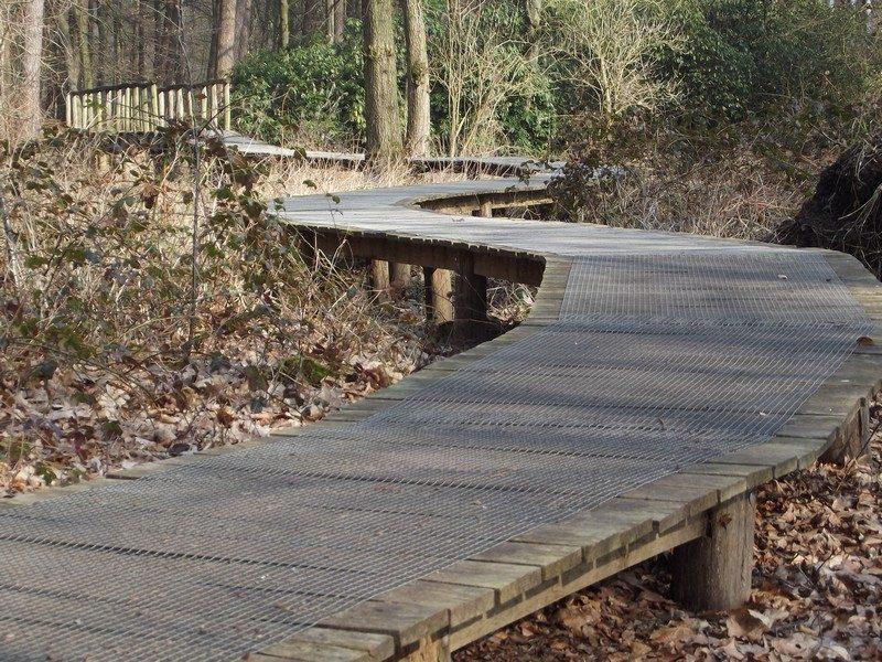 Knuppelbrugje in het beekdal van de Swalm
